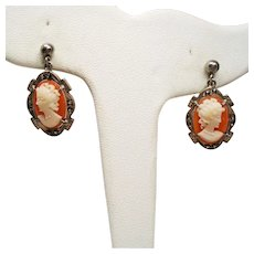 Vintage Cameo 800 Silver Marcasite Drop Earrings