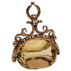 Antique Victorian Spinning Citrine 9C Gold Watch Fob Pendant
