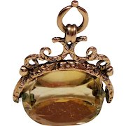 Antique Victorian Spinning Citrine 9C Gold Fob.