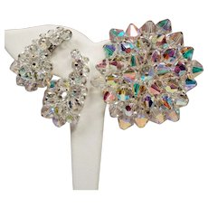 Vintage Aurora Borealis Crystal Bead Cluster Brooch & Climbing Earrings Set