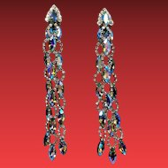 Vintage Runway Aurora Borealis Navette Rhinestone Extra Long Shoulder Duster Earrings