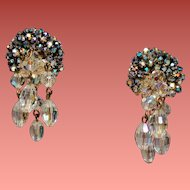Vintage Hand Wired Chaton Rhinestone Earrings Drippy Faceted Crystal Beads
