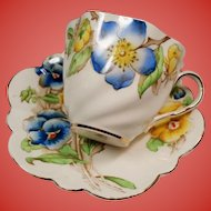 "Vintage ""Adrian"" Salisbury England Artist Signed Blue Yellow Pansies Teacup & Saucer"
