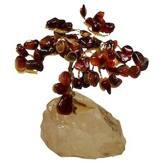 Vintage Tumbled Agate Gemstone Miniature Bonsai Tree
