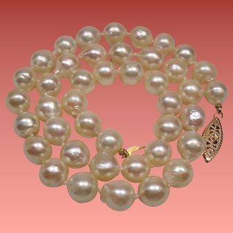 Estate Akoya Cultured Semi Baroque Pearl Choker Length Necklace 14K Clasp