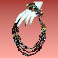 Vintage Alice Caviness Jewel Colored Glass Bead Triple Strand Necklace Wrap Bracelet Set