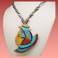 Vintage Alba Jaime Quiroz Enamel Mexico Sterling Cleopatra Necklace