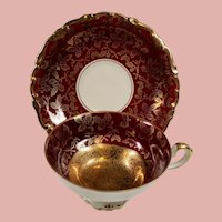 Vintage Art Deco Alka Kunst Bavaria Germany Burgundy Heavy Gold Demitasse Cup and Saucer