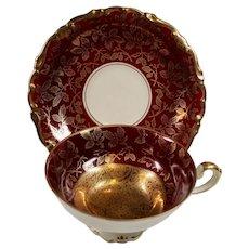 Vintage Art Deco Alka Kunst Bavaria Germany Burgundy Heavy Gold Demitasse Cup Saucer