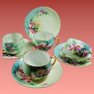 Antique Czechoslovakian Floral Hand Painted Porcelain Teacup and Saucer Set of Four