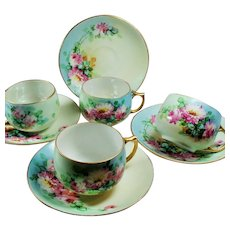 Antique Czechoslovakian Floral Hand Painted Porcelain Teacup and Saucer Set of Four