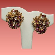 Vintage Amourelle Clustered Flowers Fuchsia Rhinestones Crystals Hand Wired Earrings