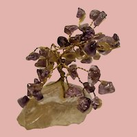 Vintage Tumbled Amethyst Gemstone Miniature Bonsai Tree