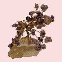 Vintage Tumbled Amethyst Gemstone Miniature Bonsai Tree