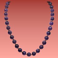Vintage Amethyst & Gold Filled Bead Matinee Length Necklace