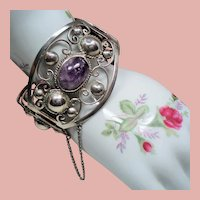 Vintage Mexican Sterling Amethyst Cabochon Stone Huge Hinged Bracelet