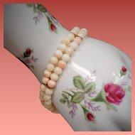 Vintage Angel Skin Coral Bead Double Strand 14K Bracelet