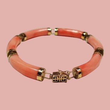 Vintage 14K Coral Link Bracelet Asian Clasp