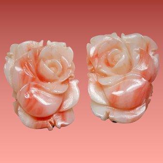 Vintage Angel Skin Coral Carved Roses Clip Earrings