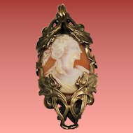 Antique Art Nouveau Bacchante Carved Shell Cameo Pendant