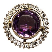 Antique Late Victorian Cannetille Brooch Large Faceted Amethyst Stone