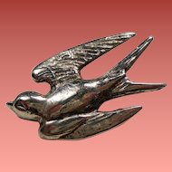 Antique Silver Mexico Petite Swallow Bird Brooch