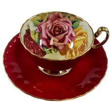 Vintage Aynsley Burgundy Teacup & Saucer Yellow and Pink Roses