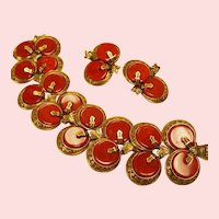 Vintage Signed Art Simulated Carnelian Bracelet Earrings Set