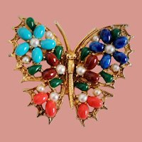 Vintage Signed Art Colorful Cabochon Stone Butterfly Brooch