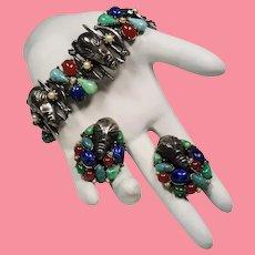 Vintage Signed Art Tribal Mask Multi Color Simulated Gemstone Bracelet Earrings Set