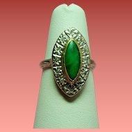 Vintage Art Deco Jade Diamond Navette 14K Art Carved Ring