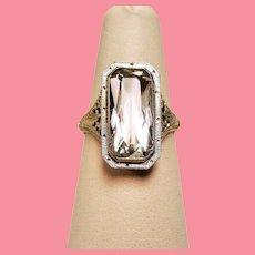Vintage Art Deco Aquamarine 14K White Gold Filigree Ring