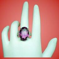 Vintage Art Deco Large Faceted Faux Amethyst Gold Filled & Sterling Ring