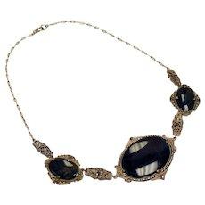 Vintage Art Deco Jasper Marcasite Sterling Filigree Necklace