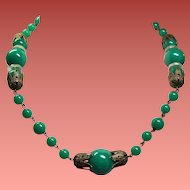 Vintage Art Deco Blue Green Glass Bead Crystal Disc Choker Necklace
