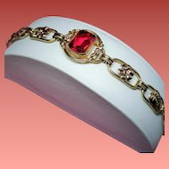 Vintage Art Deco Gold Filled Bracelet Faceted Red Glass Stone
