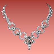 Vintage Art Deco Rhinestone Circles Drop Necklace