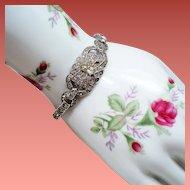Vintage Art Deco Rhinestone Sterling Bracelet