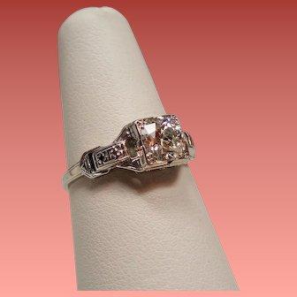Art Deco .65 Carat Old European Brilliant Cut Diamond Solitaire 18K White Gold Engagement Ring
