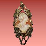 Antique Art Nouveau Bacchante Carved Shell Cameo Pendant