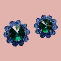 Vintage Austrian Green Ravoli Blue Crystal Bead Cluster Earrings