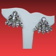 Vintage Austria Colorless Navette Rhinestone Earrings