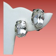 Vintage Austria Large Faceted Oval Crystal Solitaire Earrings