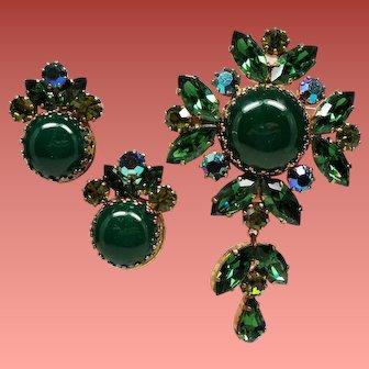 Vintage Signed Austria Green Cabochon Rhinestone Maltese Cross Drop Pendant Brooch Earrings Set