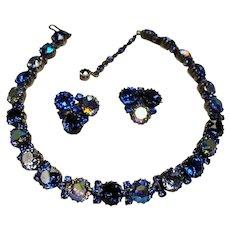 Vintage Signed Austria Sapphire Blue Large Rhinestone Crystals Necklace Earrings Demi Parure
