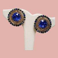 Vintage Large Royal Blue Austrian Crystals Rhinestone Earrings