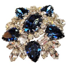 Vintage Signed Austria Faux Sapphire Brilliant Crystals Brooch