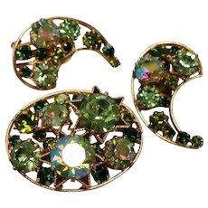 Vintage Signed Austria Celestial Rhinestone Brooch Earrings Set