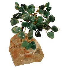 Vintage Tumbled Aventurine Gemstone Miniature Bonsai Tree