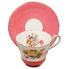 Vintage Aynsley Floral Pink Banded Teacup & Saucer